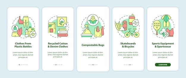 업사이클링 소재 온보딩 모바일 앱 페이지 화면. 폐기물 재활용 연습 개념이 포함된 5단계 그래픽 지침. 선형 컬러 일러스트레이션이 있는 ui, ux, gui 벡터 템플릿