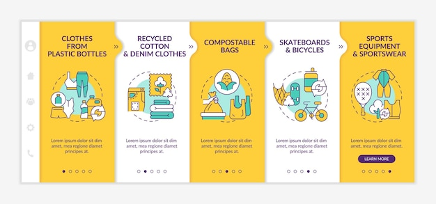 Upcycled materials onboarding vector template. responsive mobile website with icons. web page walkthrough 5 step screens. waste recycling trends color concept with linear illustrations