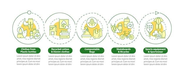 Upcycled 재료 벡터 infographic 템플릿입니다. 폐기물 재활용 프레젠테이션 개요 디자인 요소입니다. 5단계로 데이터 시각화. 타임라인 정보 차트를 처리합니다. 라인 아이콘이 있는 워크플로 레이아웃