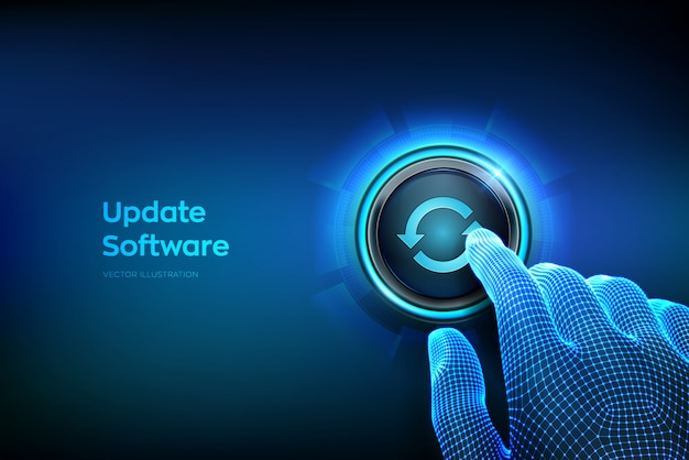 Кнопка обновления. крупным планом палец собирается нажать кнопку. обновление концепции версии программного обеспечения.