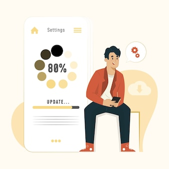 Update concept loading process in phone screen illustration