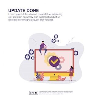 Update done concept vector illustration flat design for presentation.