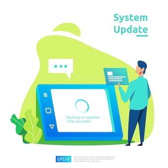 운영 체제의 업데이트 진행 개념, 데이터 동기화 프로세스 및 설치 프로그램. 그림 웹 방문 페이지 템플릿, 배너, 프레젠테이션, ui, 포스터, 광고, 판촉 또는 인쇄 매체.