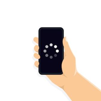 ソフトウェアの更新:スマートフォン画面での更新プロセス。スマートフォン画面でソフトウェアバージョンの概念をアップグレードします。手は携帯電話を持っています。ベクターeps10。