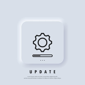 Update system icon. concept of upgrade application progress icon. loading and gear icon. progress bar icon. system software update. vector. neumorphic ui ux white user interface web button.
