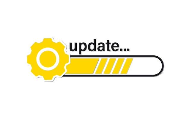 Update system icon. loading bar progress. load sign, upgrade, update, refresh. upgrade system icon. concept of upgrade application progress icon for graphic and web design template ui, web, mobile app