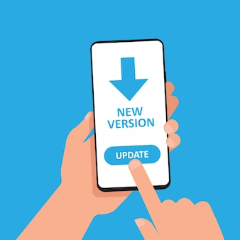 Обновить до символа новой версии. рука держит смартфон с обновлением на дисплее. вектор eps 10