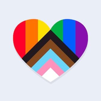 Bandiera dell'orgoglio aggiornata a forma di cuore