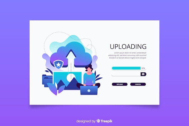 Upload or cancel an image landing page