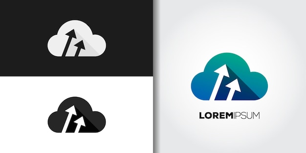 Upload cloud logo set