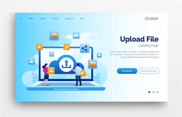 ファイルのランディングページのウェブサイトイラストフラットテンプレートをアップロードします。