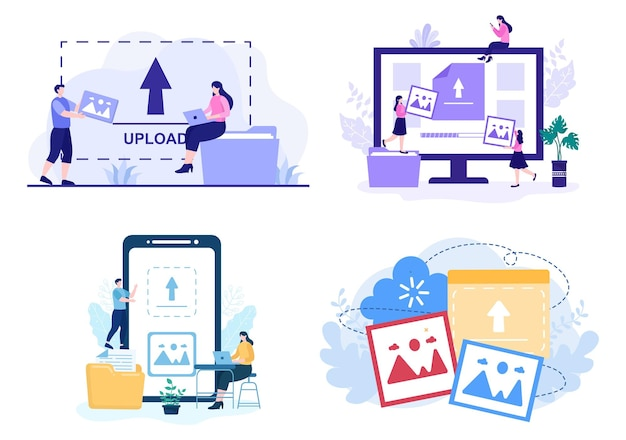 Upload image background of online devices information and data to social networks concept vector illustration