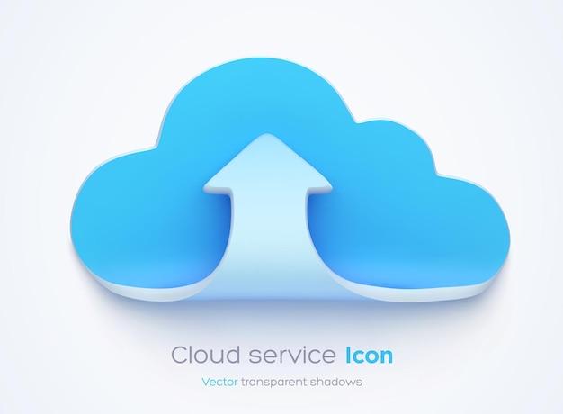 투명 그림자가있는 구름 아이콘에 업로드하십시오.