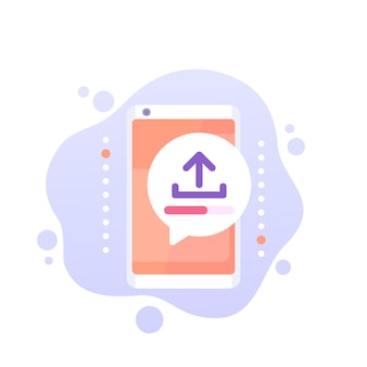 Upload with a smart phone vector icon