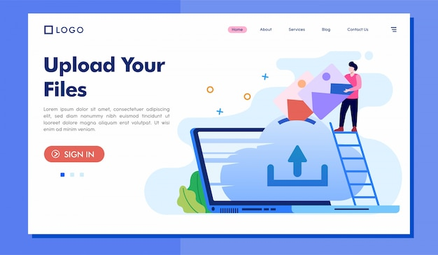 Upload your files landing page illustration template