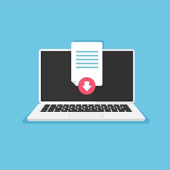 Pdfファイルをコンピューターにアップロードするプロセスをダウンロードして保存するドキュメントアイコンがラップトップディスプレイに読み込まれる