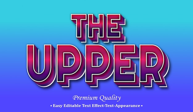 The upper 3d font style effect