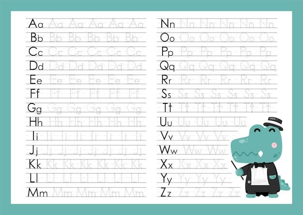 大文字と小文字のトレース文字アルファベットaからz就学前の練習用ワークシートを書く