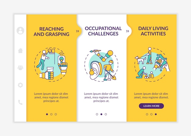 Upper-extremity prostheses tasks onboarding vector template. responsive mobile website with icons. web page walkthrough 3 step screens. daily living activities color concept with linear illustrations