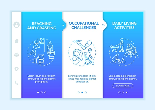 Upper-extremity prostheses tasks onboarding vector template. responsive mobile website with icons. web page walkthrough 3 step screens. reaching and grasping color concept with linear illustrations