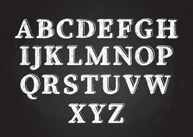 Uppercase chalk scribble font set vector illustration white chalk style contour alphabet symbols