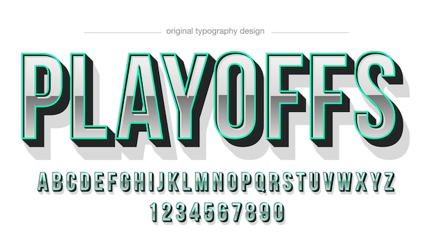 Uppercase chrome green outline typography