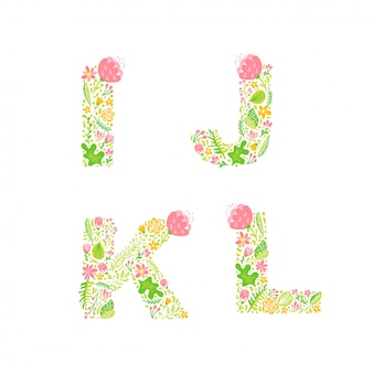 Uppercase letters with flowers