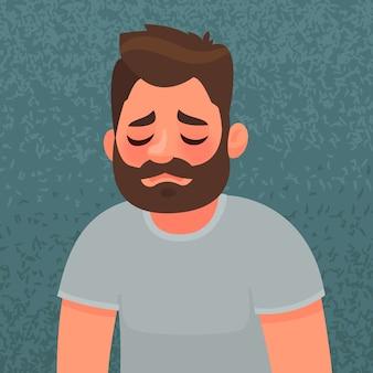 화가 나고 불행한 남자. 슬픈 표정. 슬픔과 외로움의 개념.