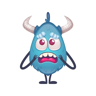 Upset blue cartoon monster character with horns and thin arms and legs  illustration