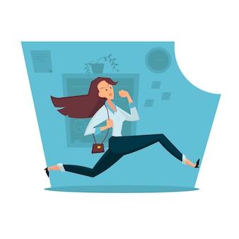 Upset businesswoman in mask kneeling on office. color vector illustration