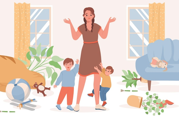 Upset and confused mother with kids illustration