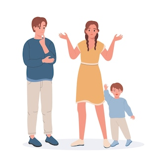 Upset and confused parents and crying little boy flat illustration