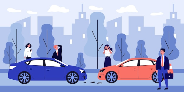 Upset drivers standing near crashed cars illustration
