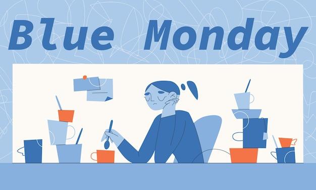 잔뜩 차 또는 커피 잔으로 둘러싸인 화가 소녀. 기상 조건과 연말 정신 건강의 의존성을 보여주는 파란색 월요일 수평 벡터 일러스트