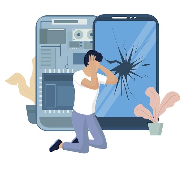 Расстроенный человек из-за треснувшего экрана его мобильного телефона, плоской векторной иллюстрации. разбитое стекло смартфона, поврежденный дисплей.