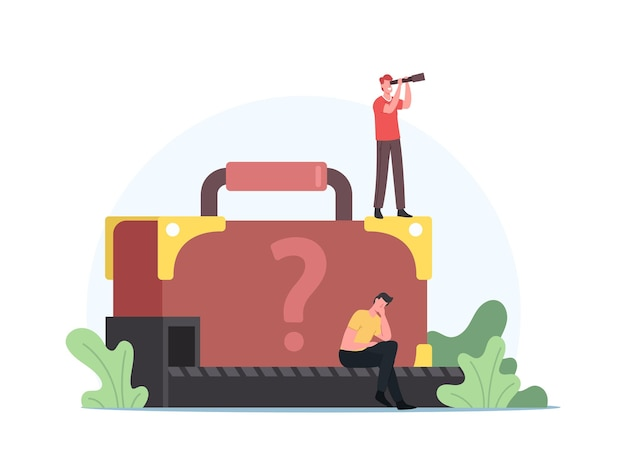 Upset passenger lose suitcase sit at conveyor belt with unknown baggage. man with spyglass search lost luggage concept. traveler characters claim baggage in airport. cartoon people vector illustration