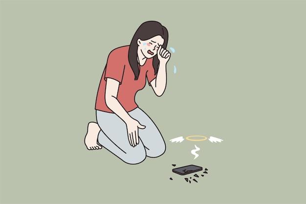 Upset woman cry over broken modern cellphone