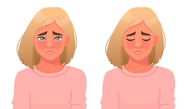 動揺した女性が泣いています。悲しみや恨み。目の涙。女の子の顔に否定的な感情。漫画スタイルのベクトル図