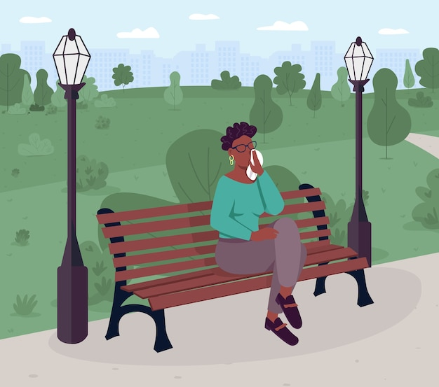 Расстроенная женщина, сидящая на скамейке в парке плоского цвета. психологическое состояние. проблема психического здоровья. нужна помощь. 2d мультяшный безликий персонаж с зеленым пейзажем на фоне