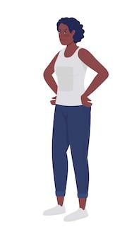Расстроенная женщина с руками на бедрах полу плоский цветной векторный характер. позирующая фигура. человек всего тела на белом. проблемы, стресс, изолированных иллюстрация в современном мультяшном стиле для графического дизайна и анимации