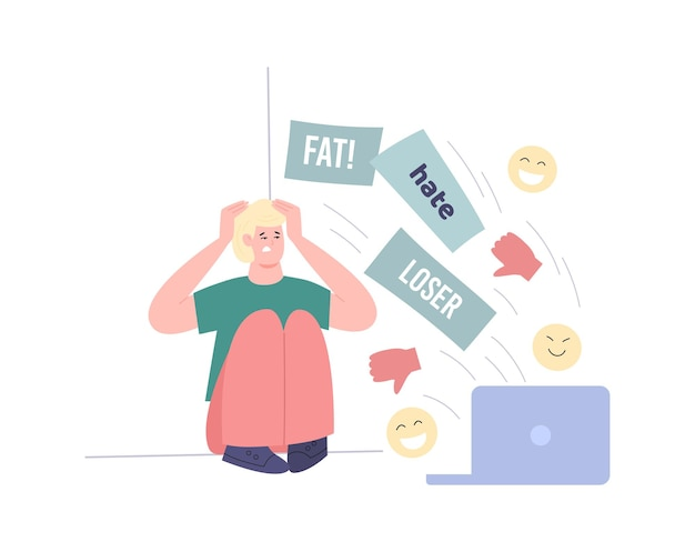 Upset young man or teen near laptop with dislikes flat vector illustration