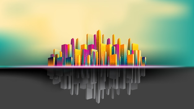 Upside down city, colorful and gray building beautiful background
