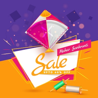 Upto 60% discount offer for makar sankranti sale poster design i