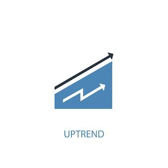Концепция восходящего тренда 2 цветных значка. простой синий элемент иллюстрации. восходящий тренд концепции дизайна символа. может использоваться для веб- и мобильных ui / ux
