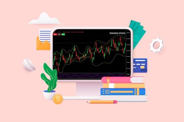 Восходящий тренд рынка 3d плоская изометрическая концепция для флаера целевой страницы иллюстрации веб-сайта баннера