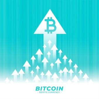 Upward growth of bitcoin concept design with arrow