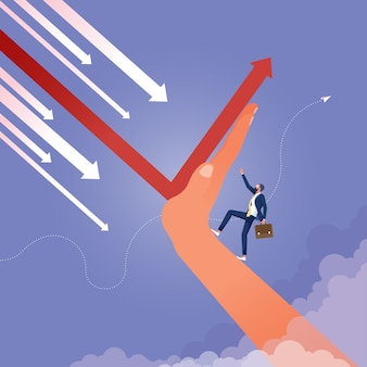 Upwards leader stands on arrow and points direction upward changing direction of financial