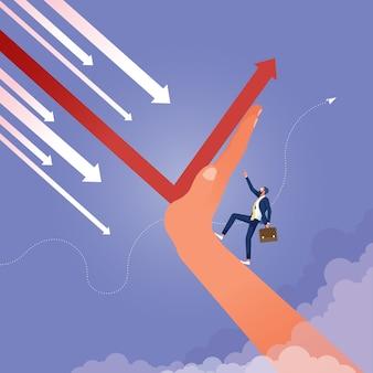 上向きのリーダーは矢印の上に立ち、財務の方向を上向きに変える方向を指します