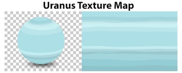 Планета уран на прозрачной с текстурной картой урана