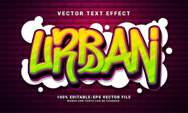Urban 3d text effect, editable graffiti and colorful text style